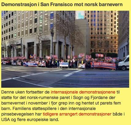 San Francisco protest in Norwegian newspaper